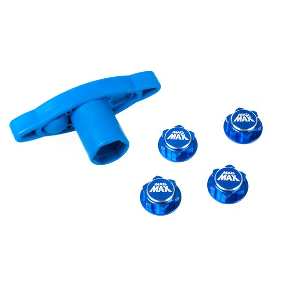 Wheel Nuts closed + Nut Tool - blue